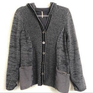 Free People hooded cardigan sweater sz. L